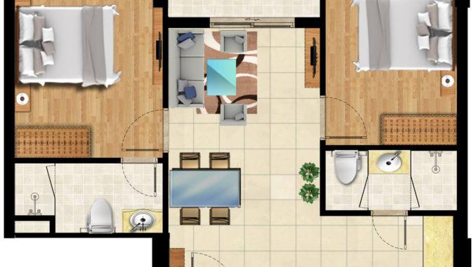 Thiết kế 2 phòng ngủ ( 54m2)