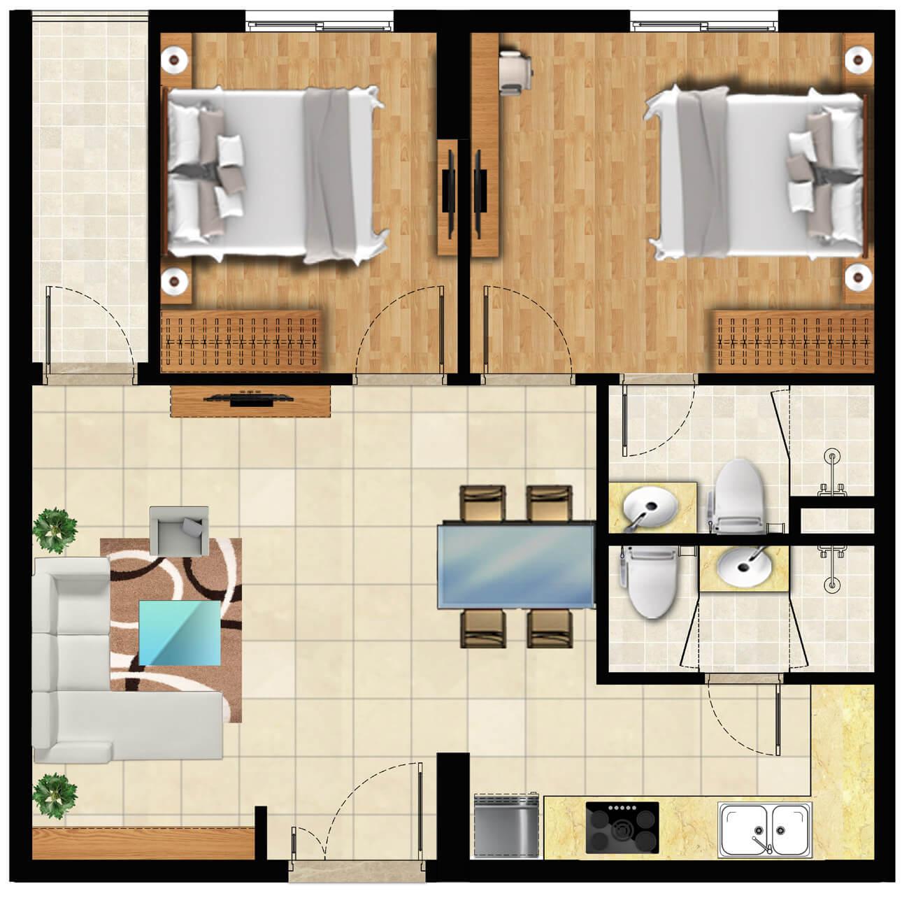 Thiết kế 2 phòng ngủ (61m2)
