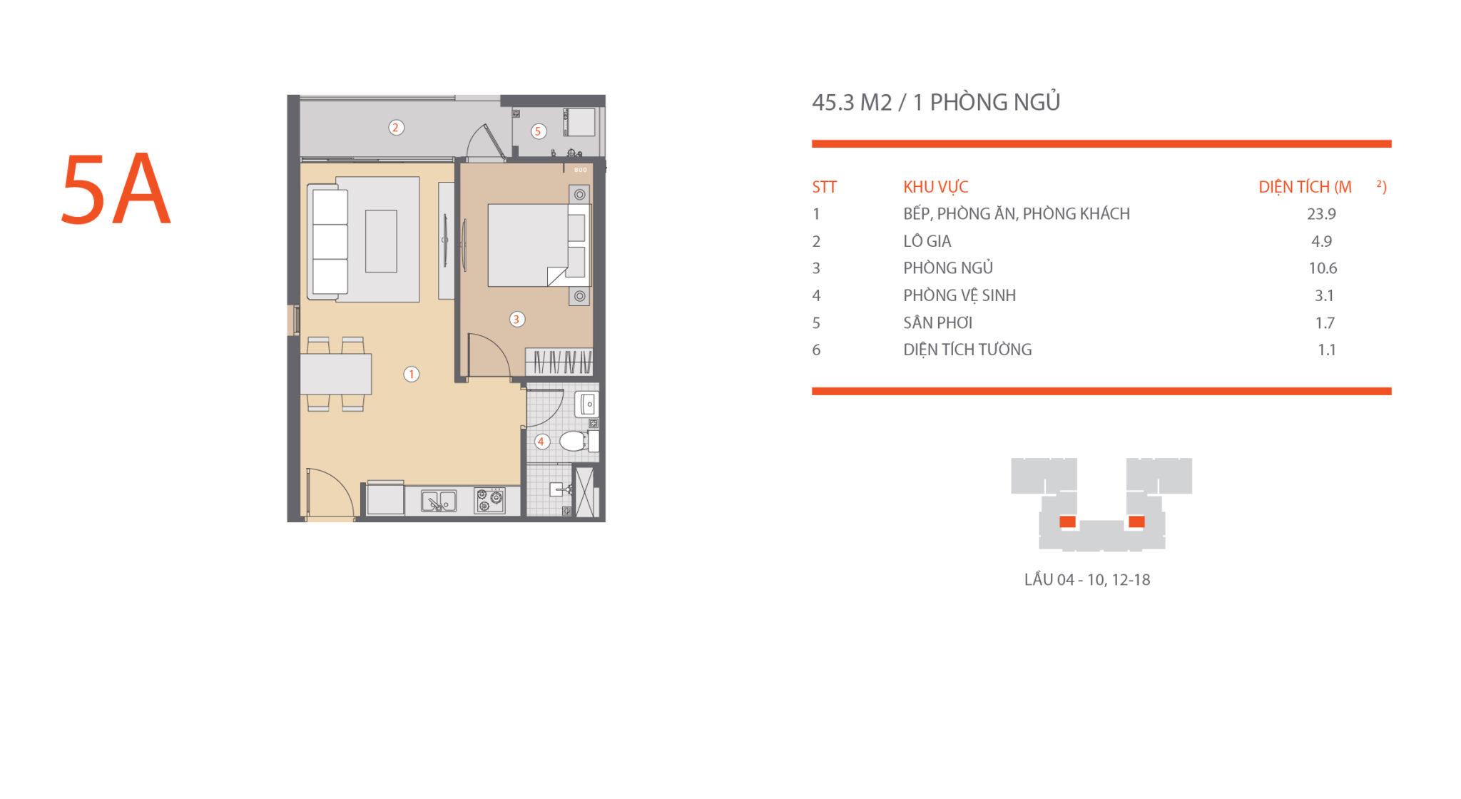 Thiết kế căn hộ Hausneo 1 phòng ngủ