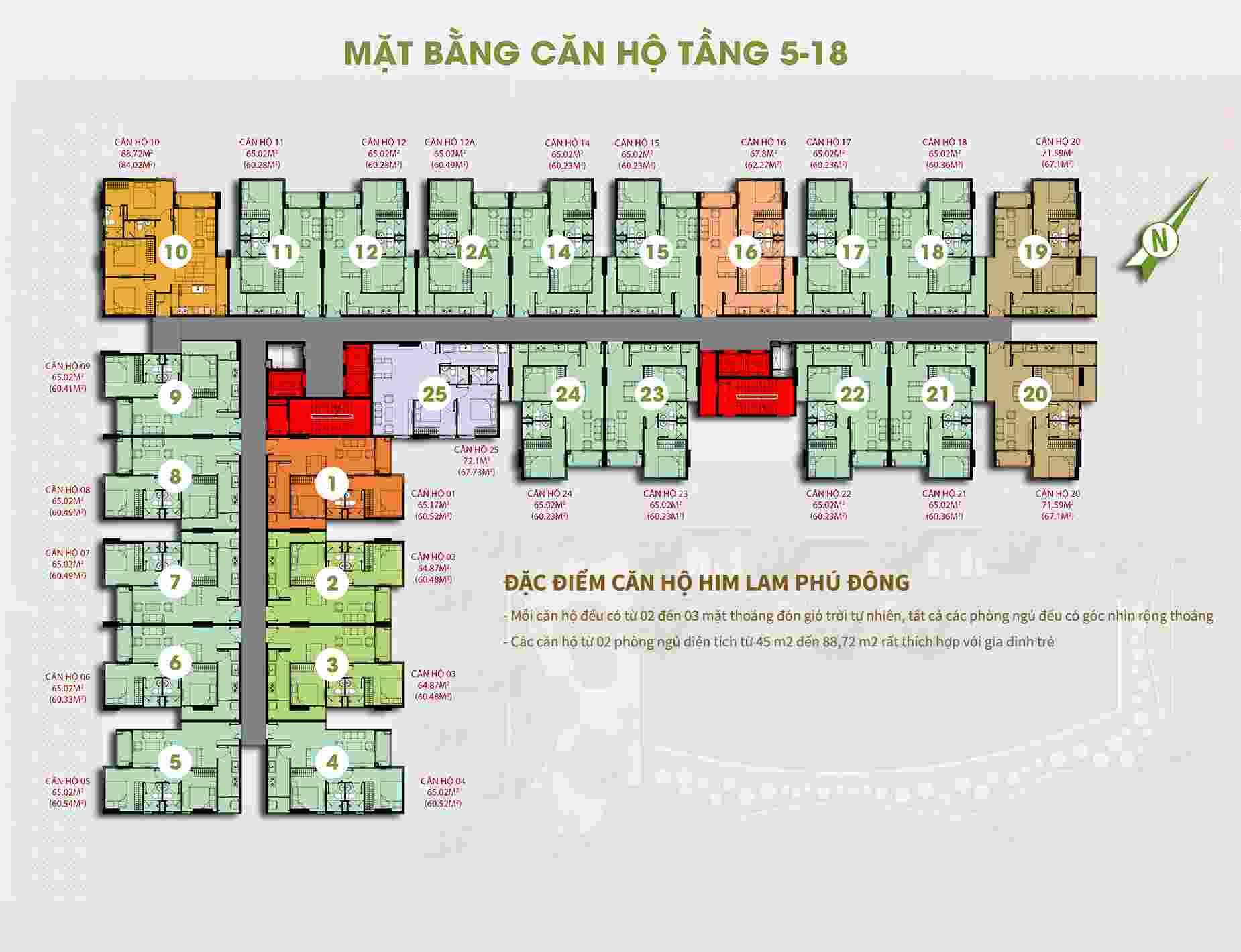 Mặt bằng dự án căn hộ Him Lam Phú Đông