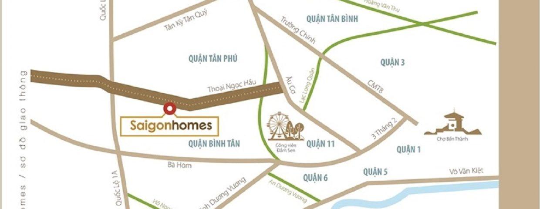 Vị trí dự án căn hộ chung cư Saigon Homes Bình Tân