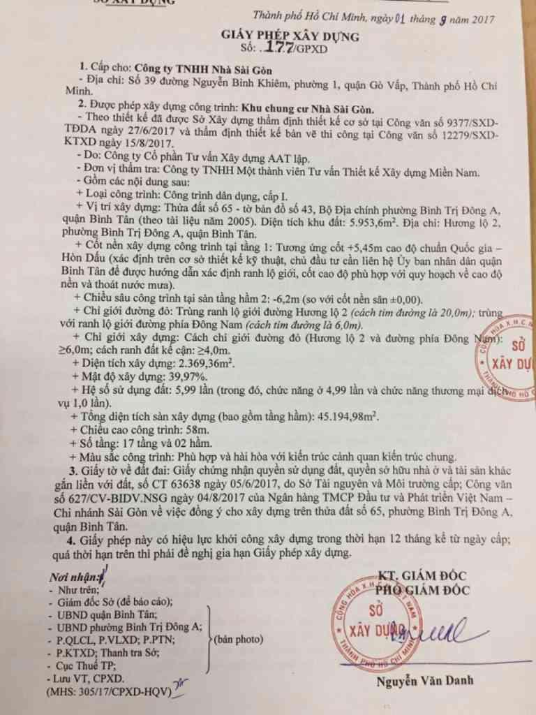 Pháp lý dự án căn hộ Saigon Homes Bình Tân