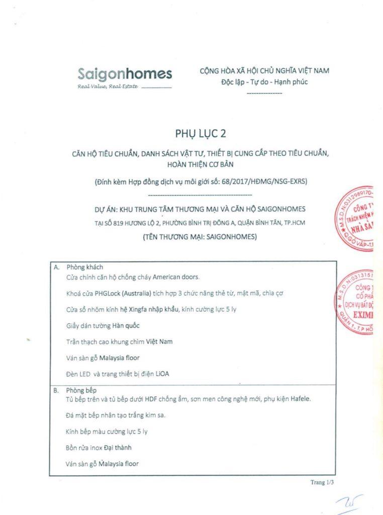 Vật liệu bàn giao nhà dự án căn hộ Saigon Homes Bình Tân