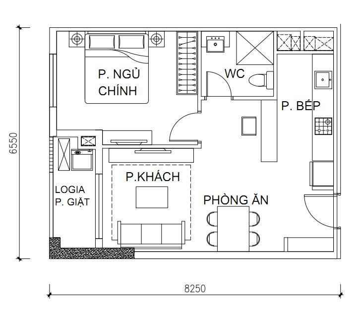 Thiết kế căn hộ Calla Garden 1 PN