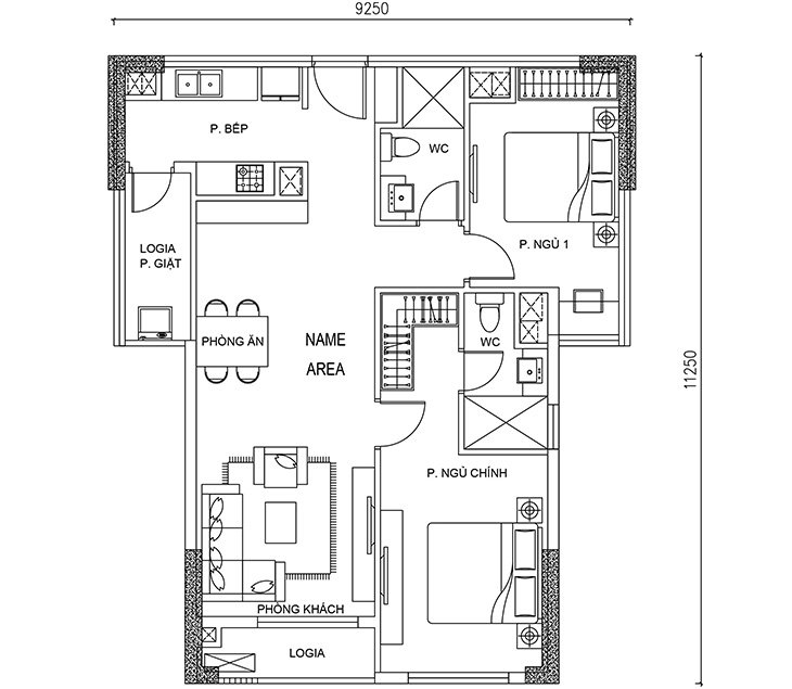 Thiết kế căn hộ Calla Garden 2 PN