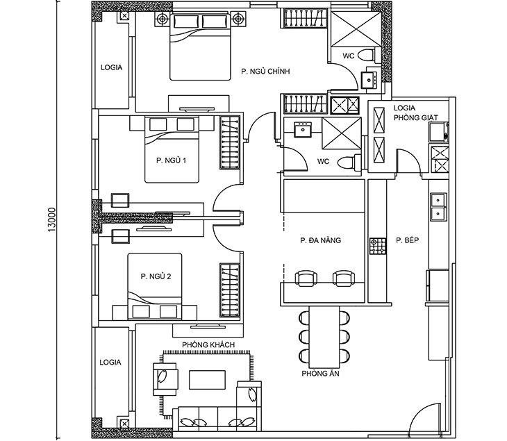 Thiết kế căn hộ Calla Garden 3 PN