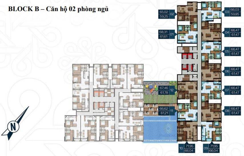 Mặt bằng BLOCK B Phú Đông Premier