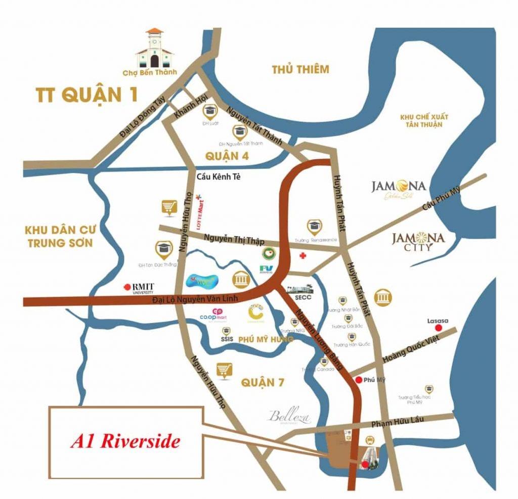 Vị trí căn hộ A1 Riverside