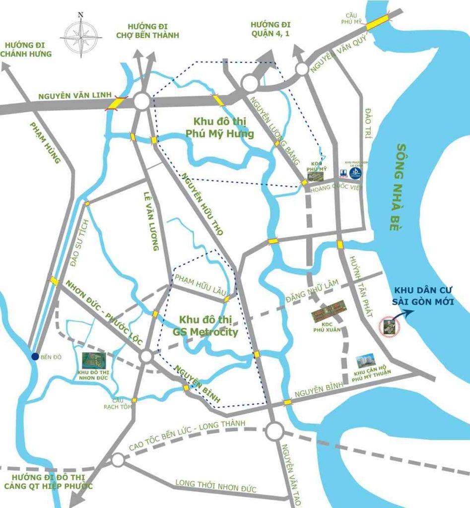 Vị trí dự án khu dân cư Sài Gòn Mới huyện Nhà Bè