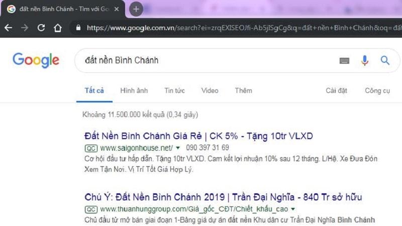 Kết quả Google khi tìm đất nền Bình Chánh
