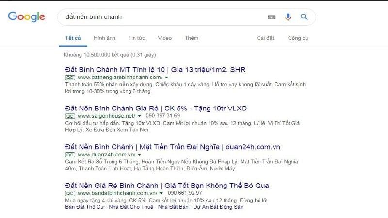 Kết quả google khi tìm kiếm từ khoá đất nền Bình Chánh