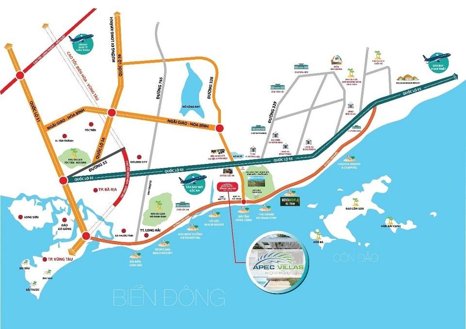 Vị trí dự án Apec Homes Hồ Tràm