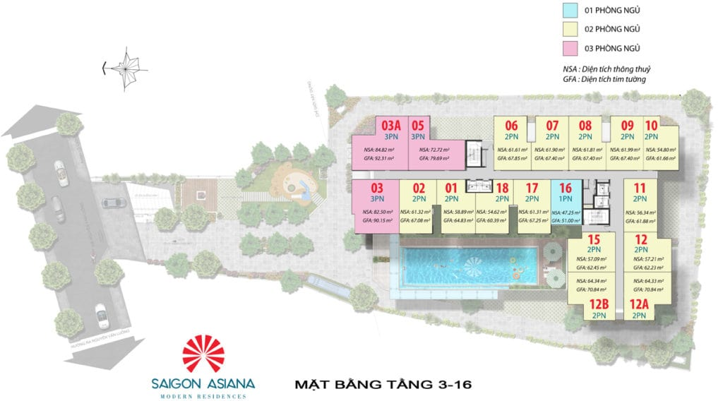 Saigon Asiana tầng 3-16 có diện tích