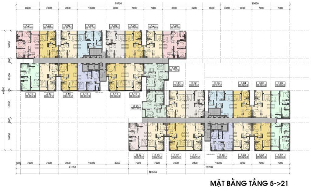 Mặt bằng căn hộ High Intela tầng 5 22