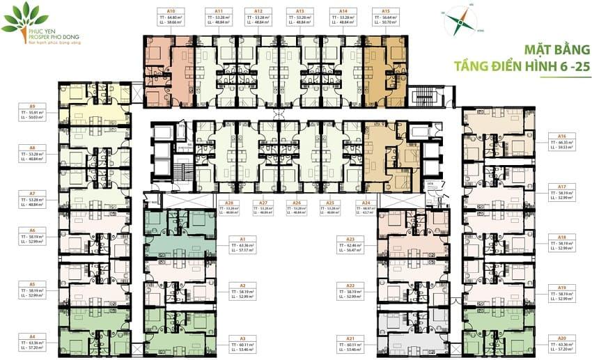 Mặt bằng căn hộ Phúc Yên Prosper Phố Đông 6-25