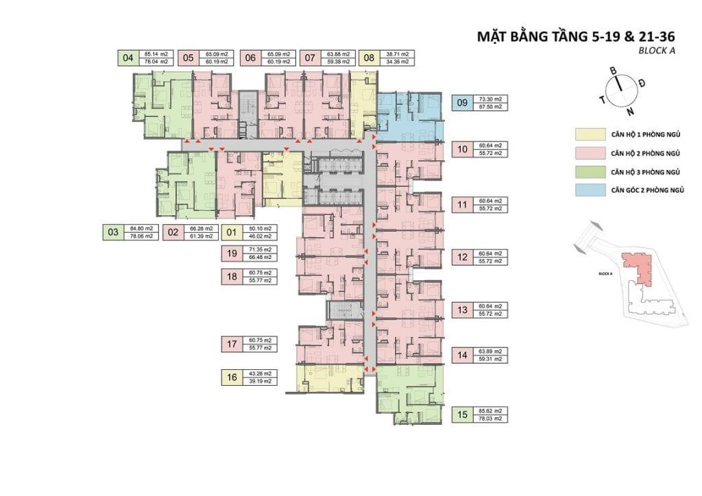Opal Skyline mặt bằng căn hộ 5-19 21-36 Block A