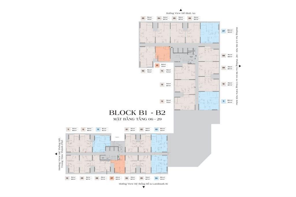 Mặt bằng Block B1 B2 LDG SKY