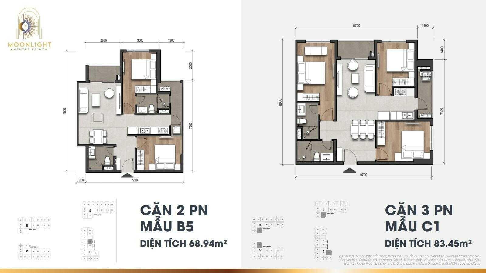 Căn 2-3 phòng ngủ Moonlight Centre Point